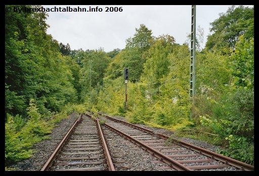 Bf Grenzau Ausfahrt Richtung Neuwied-Engers und links Gleis 1 (Blickrichtung Neuwied-Engers)